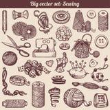 Coleção dos Doodles Sewing e de bordado Foto de Stock