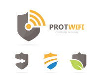Vetor da combinação do logotipo do protetor e do wifi Segurança e símbolo ou ícone do sinal Original proteja e transmita por rádi imagem de stock royalty free
