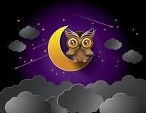 Vetor da coruja e da lua Foto de Stock
