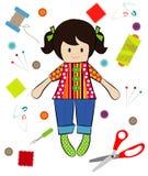 Vetor da costura da boneca com ferramentas da costura Fotos de Stock