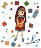Vetor da costura da boneca com ferramentas da costura Imagem de Stock