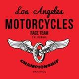 Vetor da cópia dos gráficos do t-shirt da tipografia da motocicleta Fotos de Stock