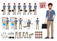 Vetor da criação do caráter do homem de negócio ajustado estando e guardando a pasta ilustração stock