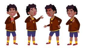 Vetor da criança da estudante do menino Criança de escola primária preto Afro-americano juventude Para o cartão, propaganda, cump ilustração royalty free