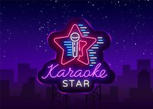 Vetor da estrela do karaoke Sinal de néon, logotipo luminoso, símbolo, bandeira clara Anunciando a barra brilhante do karaoke da  ilustração royalty free