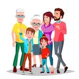 Vetor da família cheerful Mamã, paizinho, crianças, avós junto Bandeira, inseto, projeto do folheto Desenhos animados isolados ilustração royalty free