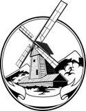 Vetor da farinha da agricultura do vintage do moinho de vento Fotografia de Stock