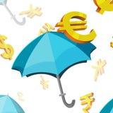 Vetor da finança dos símbolos de moeda do guarda-chuva Ilustração do Vetor