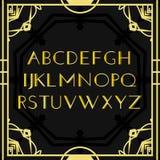 Vetor da fonte Alfabeto do vintage do art deco, quadro retro do ouro ou beira ABC luxuoso do projeto isolado no fundo preto para Fotografia de Stock