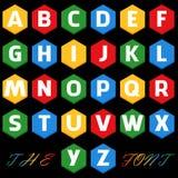 Vetor da fonte colorida estilizado e do alfabeto ilustração royalty free