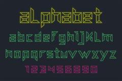 Vetor da fonte e do alfabeto de néon ilustração royalty free