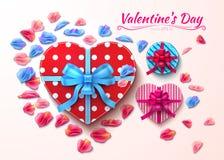 Vetor da forma do coração das caixas de presente do dia de são valentim realístico Fotografia de Stock Royalty Free