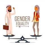 Vetor da igualdade de gênero Homem de negócios, mulher de negócio Oportunidades iguais, direitos Homem e fêmea Estar em escalas Fotografia de Stock