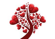 vetor da ilustração da árvore do coração e de amor Fotografia de Stock Royalty Free