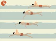 Vetor da ilustração da natação livre do estilo, projeto da natação ilustração do vetor