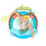 Vetor da ilustração do caráter do deus do mar de Poseidon Imagens de Stock