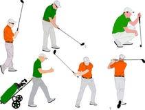 Vetor da ilustração do jogador de golfe Imagem de Stock Royalty Free