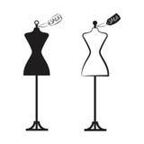 Vetor da ilustração do vestido de dois manequins ilustração stock