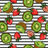 Vetor da ilustração do fundo de Kiwi Strawberry Surface Pattern Fruity Imagem de Stock Royalty Free