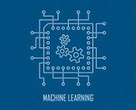 Vetor da inteligência artificial de aprendizagem de máquina ilustração stock