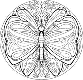 Vetor da mandala da borboleta da coloração Fotos de Stock Royalty Free