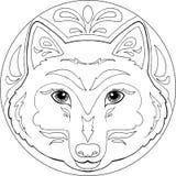 Vetor da mandala do lobo da coloração Imagens de Stock