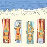 Vetor da menina do banho de sol da praia do verão Foto de Stock Royalty Free
