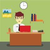 Vetor da mesa de Sitting Behind Office do homem de negócios Imagem de Stock