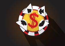 Vetor da microplaqueta e dos cartões do casino Imagens de Stock