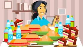 Vetor da mostra comer de Mukbang Menina Comendo a mostra gravação Live Broadcast Asian Social Media em linha Ilustração ilustração royalty free
