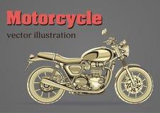 Vetor da motocicleta, bandeira do vintage, cartaz, inseto, cartão, tampa Metade-cara amarela do velomotor com muitos detalhes em  ilustração stock