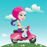 Vetor da motocicleta da equitação da mulher Imagem de Stock Royalty Free