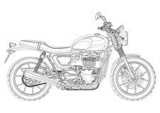 Vetor da motocicleta, monochrome, esboço preto e branco, livro para colorir Metade-cara preta do velomotor do desenho de esboço c ilustração royalty free