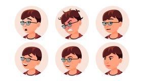 Vetor da mulher do ícone do Avatar Retrato redondo Empregador bonito Ilustração lisa isolada dos desenhos animados ilustração stock