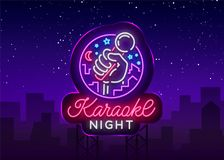 Vetor da noite do karaoke Sinal de néon, logotipo luminoso, símbolo, bandeira clara Anunciando a barra brilhante do karaoke da no ilustração stock