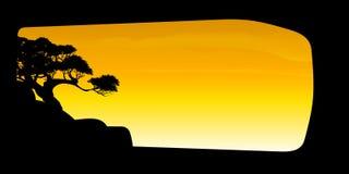 Vetor da nuvem da árvore e do fundo bonitos dos céus Imagens de Stock Royalty Free