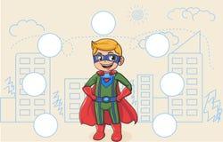 Vetor da paisagem da cidade do super-herói do design web imagens de stock