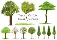 Vetor da pintura da precipitação da árvore Foto de Stock