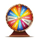 Vetor da roda da fortuna Objeto 3d realístico Jogo de azar do casino Ilustração isolada ilustração stock