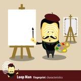 Vetor da série das características do homem de impressão digital artista Imagem de Stock Royalty Free