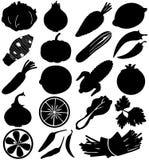 Vetor da silhueta da fruta & do vegetal Foto de Stock Royalty Free