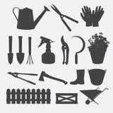 Vetor da silhueta das ferramentas de jardinagem Fotos de Stock