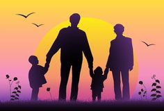Vetor da silhueta do por do sol da família ilustração stock