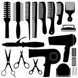 Vetor da silhueta dos acessórios do cabelo ilustração stock