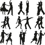 Vetor da silhueta dos povos da dança Foto de Stock
