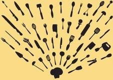 Vetor da silhueta dos utensílios da cozinha Imagens de Stock