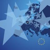 Vetor da tampa das estrelas do mapa de Europa ilustração stock