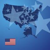 Vetor da tampa das estrelas do mapa dos E.U. ilustração stock