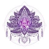 Vetor da tatuagem de Lotos ilustração do vetor