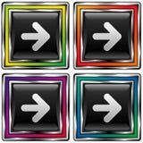 Vetor da tecla quadrada colorida do sentido da seta Fotos de Stock